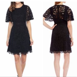 Vince Camuto Women's Black Lace Cape Sleeve Dress